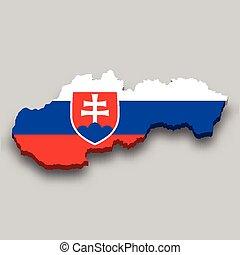 flag., 3, isometric, nemzeti térkép, slovakia