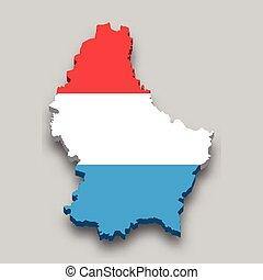 flag., 3, nemzeti, isometric, luxemburg, térkép
