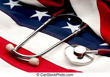 flag:, amerikai, egészség, sztetoszkóp, vita, törődik