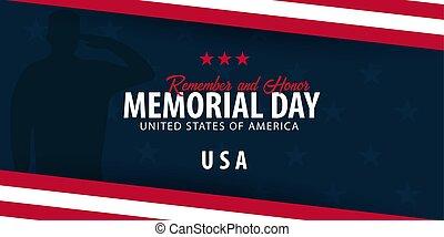 flag., amerikai, honor., emlékezik, emlékmű, usa., day.