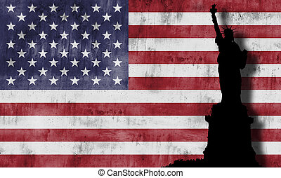 flag., amerikai, szobor, szabadság