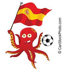 flag., játékos, birtok, futball, polip, spanyolország