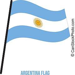 flag., nemzeti, ábra, hullámzás, háttér., lobogó, vektor, argentína, fehér