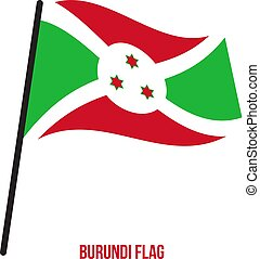 flag., nemzeti, ábra, hullámzás, háttér., lobogó, vektor, burundi, fehér