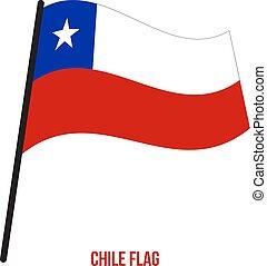 flag., nemzeti, ábra, hullámzás, háttér., lobogó, vektor, chile, fehér