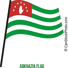flag., nemzeti, ábra, hullámzás, háttér., lobogó, vektor, fehér, abkhazia