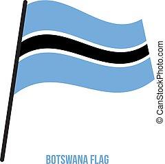 flag., nemzeti, ábra, hullámzás, háttér., lobogó, vektor, fehér, botswana