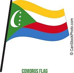 flag., nemzeti, ábra, hullámzás, háttér., lobogó, vektor, fehér, comoros