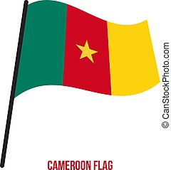 flag., nemzeti, ábra, hullámzás, háttér., lobogó, vektor, fehér, kamerun