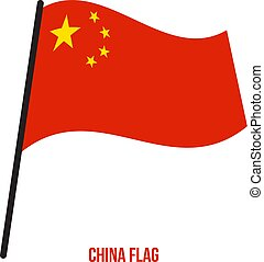 flag., nemzeti, ábra, hullámzás, háttér., lobogó, vektor, kína, fehér