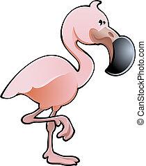 flamingó, ábra, csinos, vektor, rózsaszínű