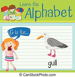 flashcard, balek, levél g