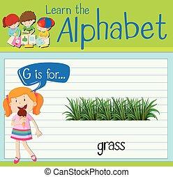 flashcard, fű, levél g