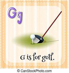 flashcard, golf, levél g