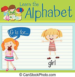 flashcard, leány, levél g