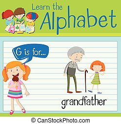 flashcard, levél g, nagyapa