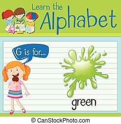 flashcard, zöld, levél g