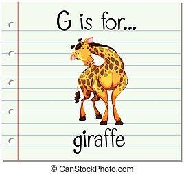 flashcard, zsiráf, levél g