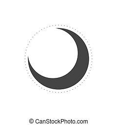 flat., hold, vektor, ikon, aláír, ábra, elszigetelt, jelkép.