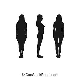 flat., illustration., minden, kilátás, árnykép, side., vektor, nő