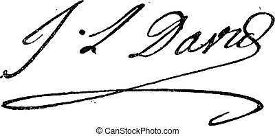fleury, illustration., (1748-1825), larive, ruhanemű, jacques-louis, -, szüret, dávid, szótár, bevésett, szavak, aláírás, 1895.