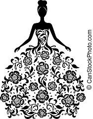 floral öltözködik, leány, díszítés, árnykép