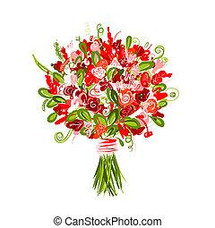 floral bouquet, tervezés, -e