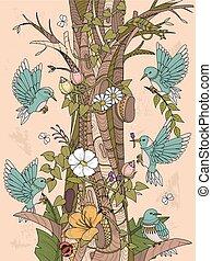 floral elem, madarak