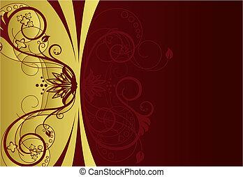 floral határ, tervezés, piros, arany