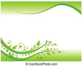 floral határ, zöld, ábra