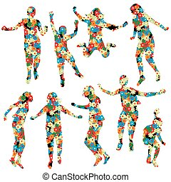 floral példa, elkészített, körvonal, gyerekek