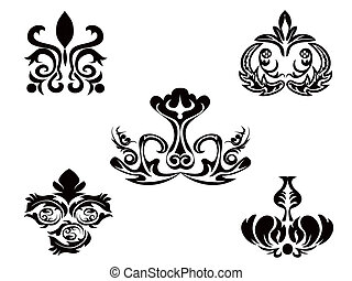 floral példa, elvont, fekete