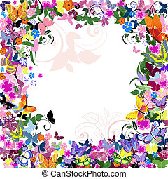 floral példa, keret, pillangók