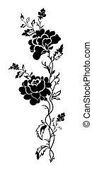 floral példa, rózsa, tatto, függőleges