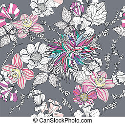 floral példa, seamless, retro