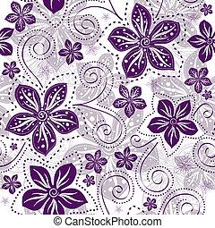 floral példa, seamless, white-violet
