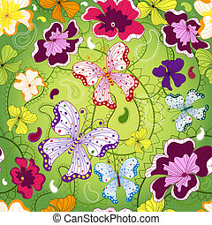floral példa, zöld, seamless