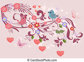 floral tervezés, díszítés, -e, piros