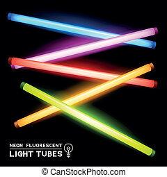 fluoreszkáló, neon, csövek, fény