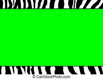 fluoreszkáló, zöld, zebra, sablon