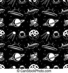 flyer., ábra, motívum, elem, poszter, űrhajó, tervezés, transzparens, vektor, kártya, seamless, ufo., űrhajós