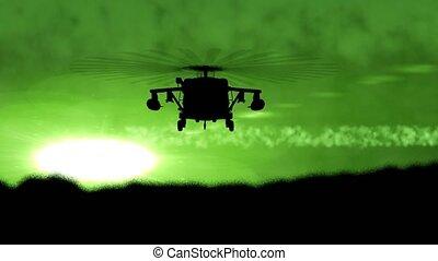 """""""flying, helikopter, sunset"""", körvonal"""