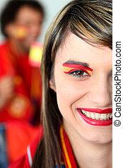 foci rajongó, női, spanyol