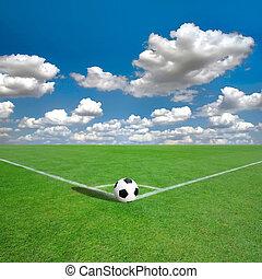 foci terep, megjelöl, sarok, fehér, (soccer)