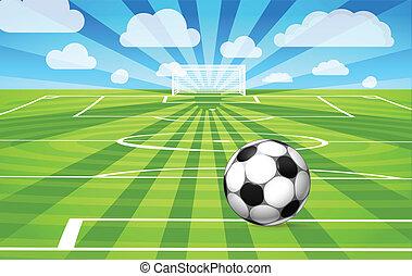 focilabda, mező, játék, fű, fekvő