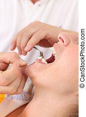 fogász, türelmes, női