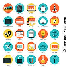 fogékony, háló, díszlet tervezés, ikonok