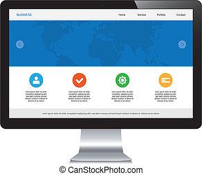fogékony, webdesign, elszigetelt, desktop