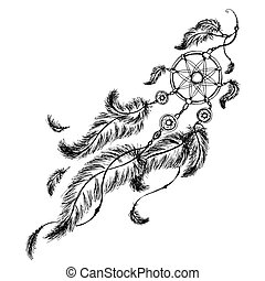 fogójátékos, álmodik, feathers., etnikai