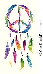 fogójátékos, békés, álmodik, elkészített, aláír, béke, színes, feathers.